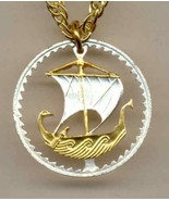 "Cyprus 5 mils ""Viking ship"", gold and silver cut coin pendent with 14k ... - $60.00"