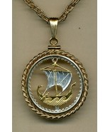 """Cyprus 5 mils (Viking ship)""""bronze"""" (quarter size) cut coin pendant neck... - $136.00"""