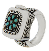 Solid Sterling Silver Flower Turquoise Locked Ring»R118 - £39.83 GBP
