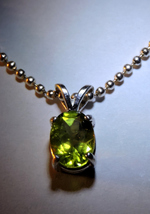 Pretty Faceted 8x6mm Oval Peridot Pendant  Necklace - $18.00