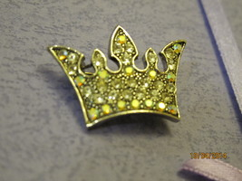 Vintage style crown brooch pin feature with rhinestones  - $15.00