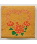 Wood Mounted Rubber Stamp By Comotion Rubber Stamps Heart Roses Scapbook... - $7.99