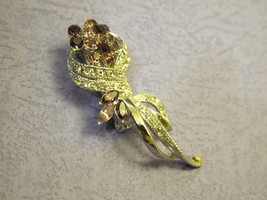 Vintage tulip brooch pin feature with rhinestones breast pin mini pin - $18.00