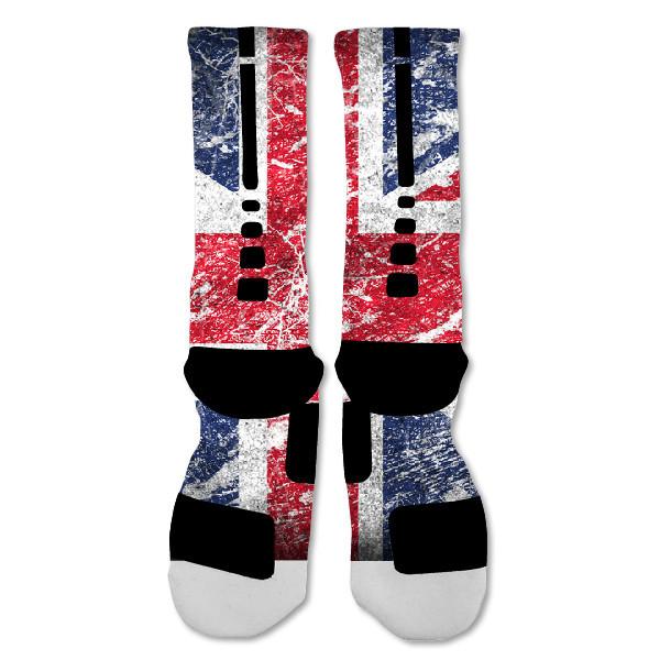 "Nike Elite socks custom British Flag ""Fast Shipping"""