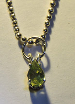 Tiny Faceted 6x4mm Pear Teardrop Peridot Pendant  Necklace - $14.00