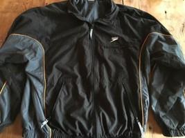 Speedo Black & Gold Lined Jacket Team Windbreaker Swim XL - $13.29