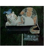 Yard Stake/Bird Feeder, Metal, Bird Watching Cat - $13.00