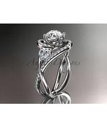 Unique platinum diamond moissanite engagement ring ADLR320 - $2,720.00