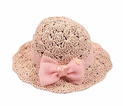 PANDA SUPERSTORE Creative Summer Straw Beach Bow Pink Girl Hat