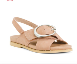 Earth Comfort Slingback Leather Sandals Size 8 Blush Tan Brown  - $58.40