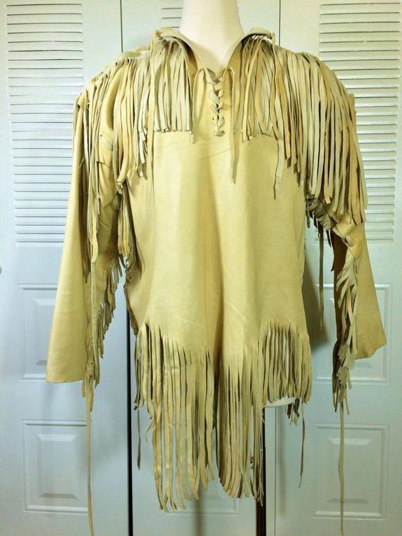 Men's Handmade Native American Mountain Man Leather Fringed Jacket FJ654