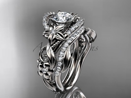 Leaf and Floral engagement ring set, 14kt white gold diamond flower, leaf and vi - $2,510.00