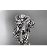 Leaf and Floral engagement ring set, 14kt white gold diamond flower, lea... - $2,510.00