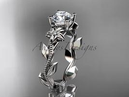 Unique platinum diamond floral wedding ring, engagement ring ADLR223 - $1,125.00