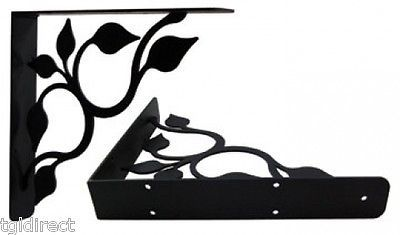 "Primary image for Wall Shelf Bracket Pair Of 2 Leaf Fan Extra Heavy Wrought Iron 9.25"" Long Black"