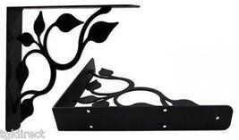 """Wall Shelf Bracket Pair Of 2 Leaf Fan Extra Heavy Wrought Iron 9.25"""" Lon... - $59.99"""
