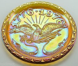 Vintage Indiana Glass Plate American Bicentennial Amber Carnival Eagle 1776 1976 - $14.99