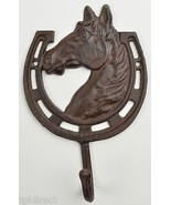 """Cast Iron Wall Hook Horse & Horseshoe 8.875"""" Tall Home Decor Accent Country - $14.99"""