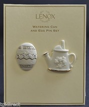 Lenox Signed Pin Set Trimmed In 24 Karat Gold Watering Can & Easter Egg ... - $24.99