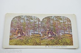 Antique Stereoview Card No. 431 Our Lean-To Camp On Vermillion Collectible - $12.99