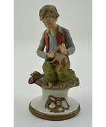 Boy Kneeling Dog Ceramic Figurine 6.75 Tall Collectible Home Decor Accen... - $17.99