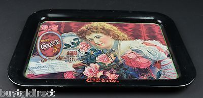 Primary image for Coca Cola Metal Advertising Tray Victorian Woman Flowers Coke Glass Collectible