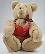 """Collectible Tan Teddy Bear In Red Vest & Red Bow Tie 18"""" Tall Christmas - $9.99"""