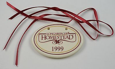 Primary image for Longaberger Pottery 1999 Homestead Basket Tie-On Collectible Accent Home Decor