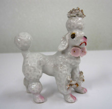 "Vintage Hand Painted Poodle Dog Japan White Pink Flowers Ceramic 3"" X  3... - $27.99"