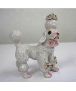 "Vintage Hand Painted Poodle Dog Japan White Pink Flowers Ceramic 3"" X  3... - $27.99"