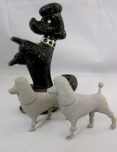 Poodle Dog Figurine Metal Pencil Holder & 2 Plastic Toys - $33.95