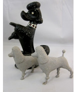 Poodle Dog Figurine Metal Pencil Holder & 2 Plastic Toys - $33.95