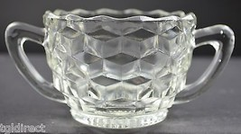 "Vintage Jeannette Glass Cube Clear Pattern Open Sugar 2.375"" Tall Tea Crystal - $6.99"