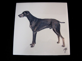 Weimaraner Dog Painted Art Tile Glazed Signed - $24.95