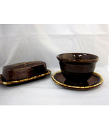 USA Pottery Oven Proof Brown Drip Glaze Bowl Plate Butter Dish - $32.95