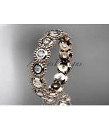 Unique bridal ring, 14k rose gold white sapphire flower  engagement ring... - $895.00