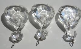 three XL CLEAR TEARDROP GLASS CHANDELIER PRISMS ANTIQUE CRYSTALS crafts ... - $9.99