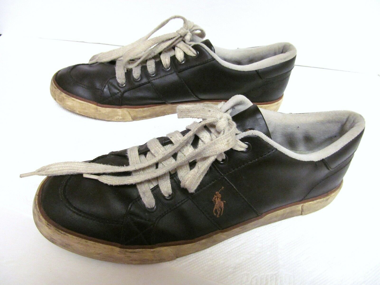 Polo RALPH LAUREN Men's Leather Sneakers Shoes Distressed Vintage Brown 13 D