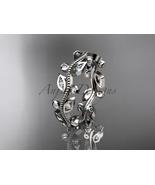 Nature inspired wedding band, 14kt white diamond leaf and vine wedding r... - $875.00