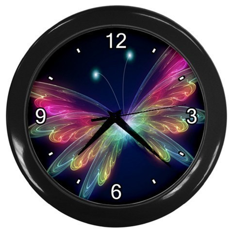Colorful Neon Butterfly Decorative Wall Clock (Black) Gift model 32047310