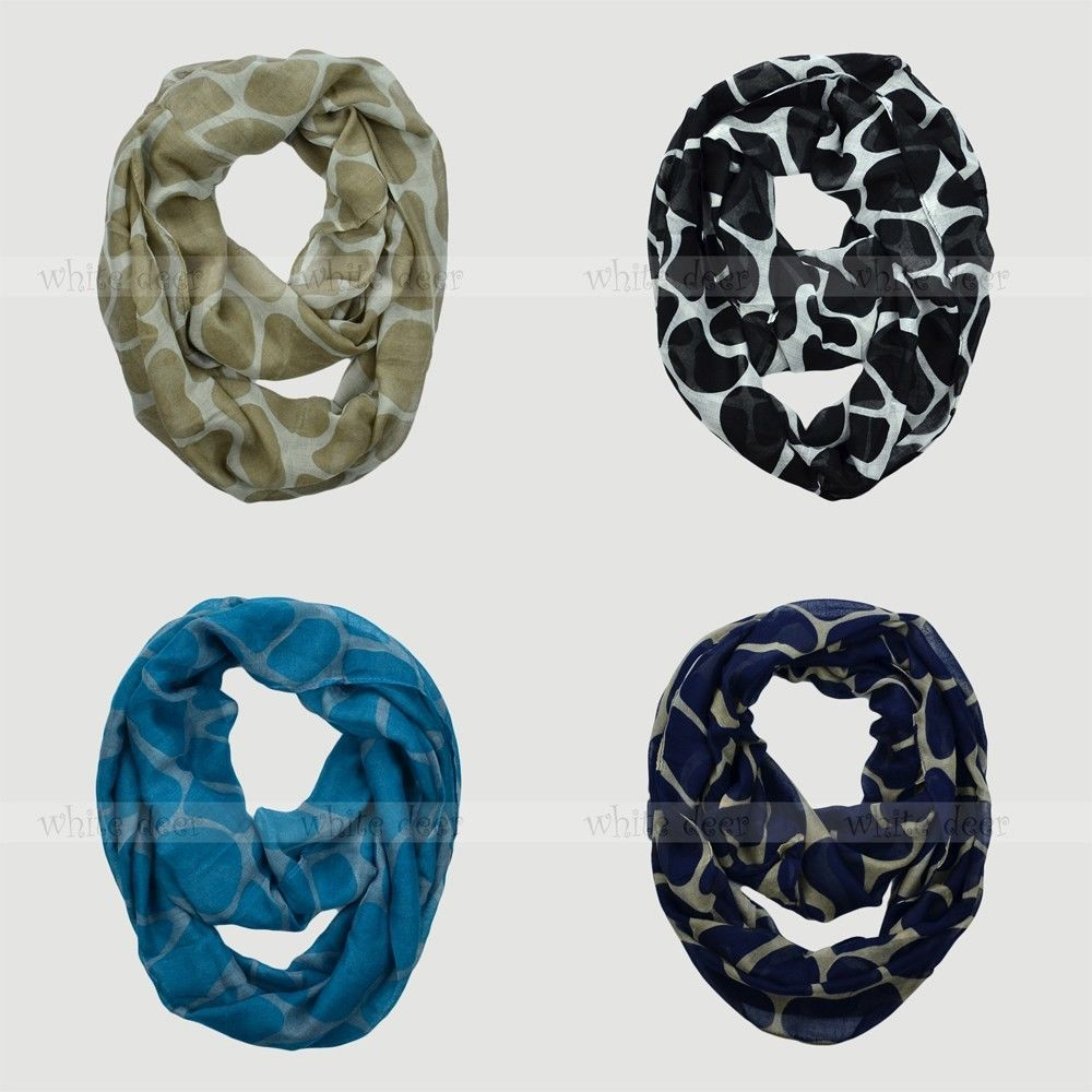 Giraffe Animal Print Block Circle Loop Wrap Infinity Scarf Multi Color Soft - $6.45