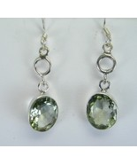 Faceted Green Amethyst Ovals Sterling Silver Dangle earrings 925 Hook Wires - $67.00
