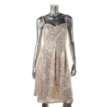 Nine West Womens Sz 4 Mesh Sequined Cocktail Blush Beige Dress 2123-3 - $31.94