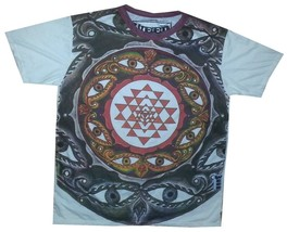 E Men Yoga T Shirt Ganesh Hindu Eye Zen India Hippie Peace Hobo Boho L Rare Weed - $18.01