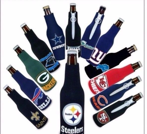 2 NFL NATIONAL FOOTBALL LEAGUE BEER SODA WATER BOTTLE ZIPPER KOOZIE HOLDER