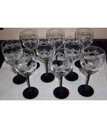Black Stem Rose Etched Design Wine Glasses / Goblets Set of 9! FRANCE 12... - $54.44