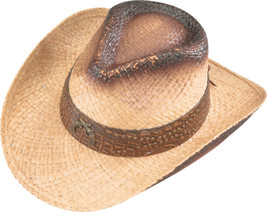 Henschel Handstained Raffia Cowboy Hat Dusted Crossed Guns Concho Natural - $37.00