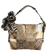 COACH Carly Tan Brown & Gold Patchwork Canvas Leather Hobo Bag (MAKE AN ... - $323.73