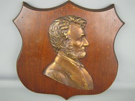 Vintage President Abraham Lincoln Brass/Copper Wood Wall Plaque Shield - $68.36