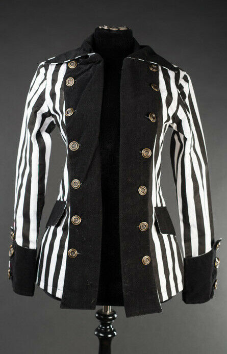 Black White Striped Goth Victorian Jacket Beetlejuice Short Pirate Princess Coat